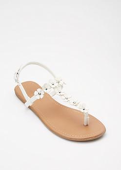 White Flower T Strap Sandals