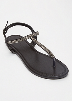 Black Rhinestone T Strap Sandals