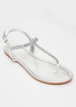 Silver Rhinestone T Strap Sandals