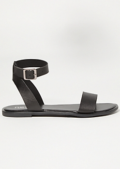 Black Faux Leather Buckled Ankle Sandals