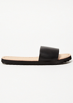 Black Faux Leather Strap Slides