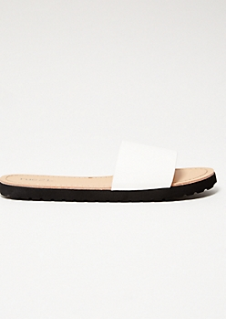 White Faux Leather Strap Slides