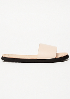 Nude Faux Leather Strap Slides