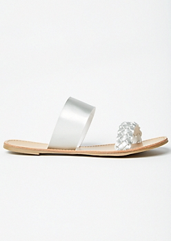 Silver Double Braided Slip On Sandals