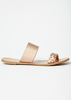 Rose Gold Double Braided Slip On Sandals
