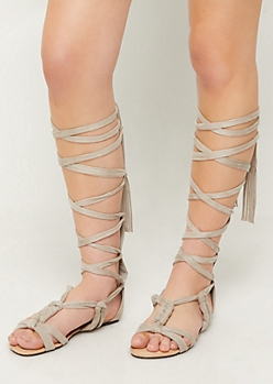Light Gray Lace Up Knotted Sandals