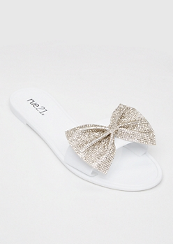 White Rhinestone Bow Sandals