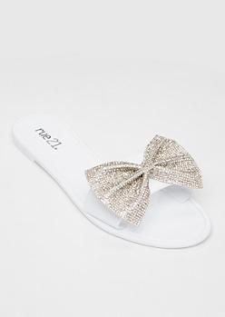 White Rhinestone Bow Sandals