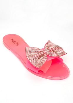 Neon Fuchsia Rhinestone Bow Sandals