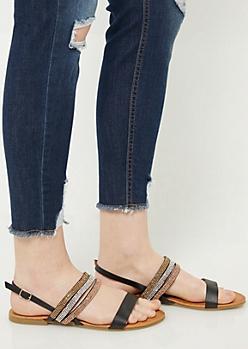 Black Rhinestone Slingback Sandals