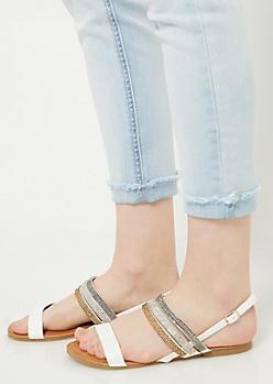 White Rhinestone Slingback Sandals