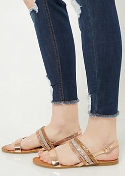 Rose Gold Rhinestone Slingback Sandals