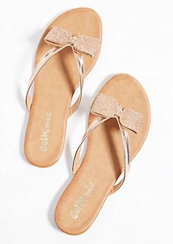 Rose Gold Rhinestone Bow Flip Flops
