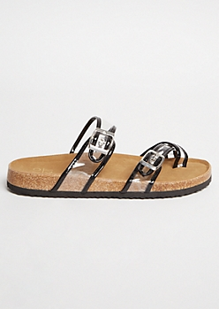 Black Clear Buckle Strap Crisscross Slip On Sandals