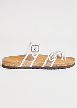 White Clear Buckle Strap Crisscross Slip On Sandals