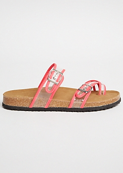 Neon Fuchsia Clear Buckle Strap Crisscross Slip On Sandals