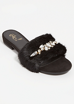 Black Rhinestone Fuzzy Heeled Sandals