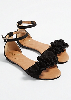 Black Floral Toe Strap Sandals