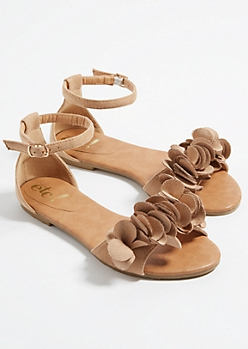Taupe Floral Toe Strap Sandals