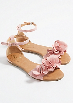 Light Pink Floral Toe Strap Sandals