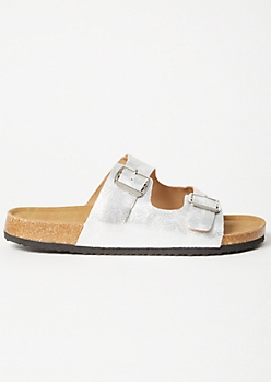 Silver Metallic Double Buckle Slip On Sandals