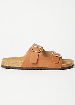 Cognac Double Buckle Slip On Sandals