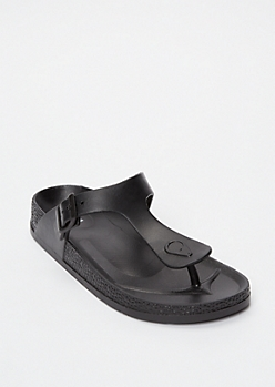 Black Thong Slide Sandals