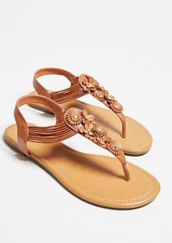 Brown Floral Applique T Strap Slingback Sandals