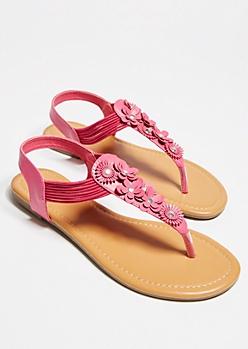 Fuchsia Floral Applique T Strap Slingback Sandals