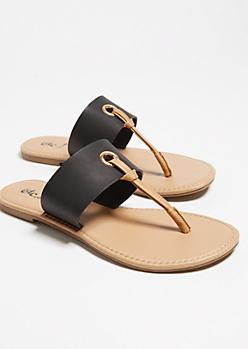 Black Contrast T Strap Sandals