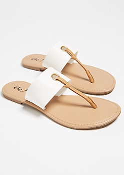 White Contrast T Strap Sandals