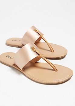 Rose Gold Contrast T Strap Sandals