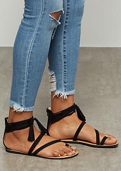 Black Toe Ring Tassel Ankle Strap Sandals