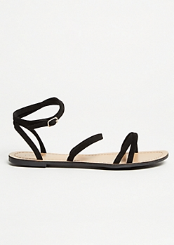 Black Faux Suede Strappy Ankle Sandals