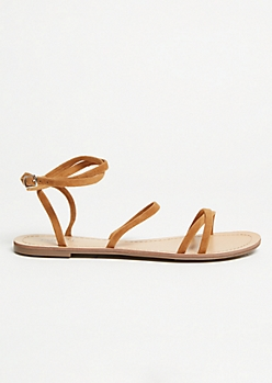 Cognac Faux Suede Strappy Ankle Sandals