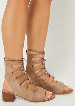 Tan Peep Toe Lace Up Sandals