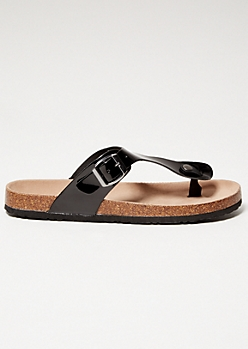 Black Patent Leather Thong Cork Flip Flops