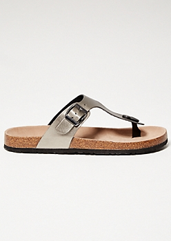 Pewter Faux Leather Thong Cork Flip Flops