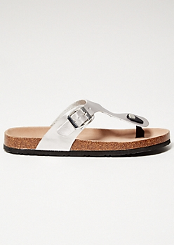 Silver Faux Leather Thong Cork Flip Flops