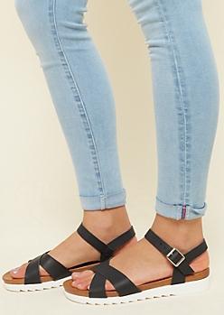 Black Treaded Crisscross Sandals