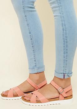 Coral Pink Treaded Crisscross Sandals
