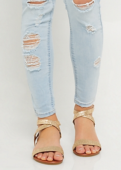 Gold Metallic Textured Strap Sandals