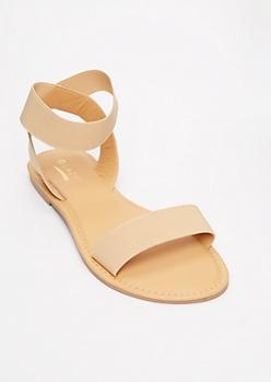 Nude Elastic Strap Sandals