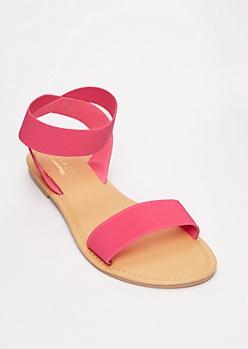 Neon Fuchsia Elastic Strap Sandals
