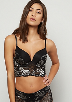 Black Floral Lace Longline Push Up Balconette Bra