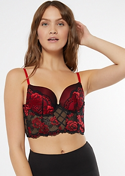 Red Floral Lace Longline Push Up Balconette Bra