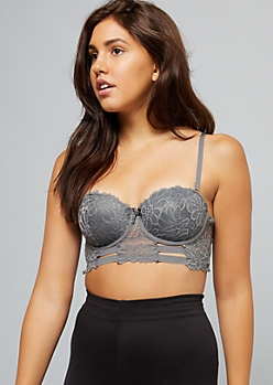 Gray Strappy Lace Push Up Demi Bra