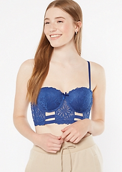 Royal Blue Lace Longline Push Up Demi Bra