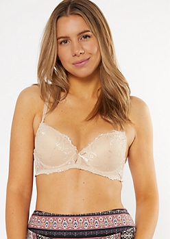 Sand Lace Convertible Push-Up Bra