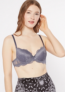 Gray Lace Double Push Up Bra